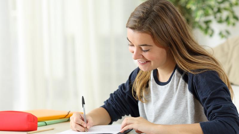 student, homework, girl