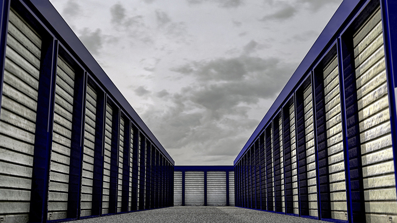storage units, outside, rollup doors